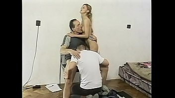 Fair-haired floozie Monika becomes very wet and horny when she saw couple of studs starting to make out