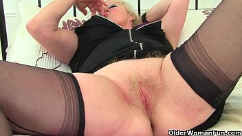 British granny Zadi satisfies her old wet cunt