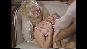 Mature blonde hottie with curvaceous figure Helga Sven likes when young stud licks her hairy twat before stiffing his dong there