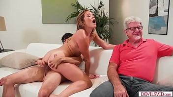 Guy fucks girlfriend in front of stepdad