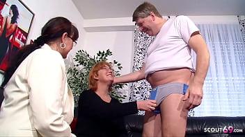 Echtes altes deutsches Paar beim ersten FFM Dreier mit Lehrerin