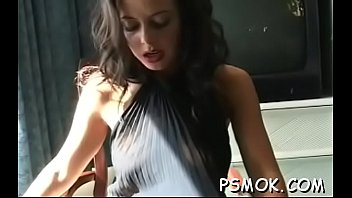 Busty slut smoking bare