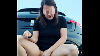 Lika Lax fucks herself and squirts right on the highway endlessly cums