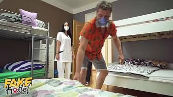 Fake Hostel Threesome with Redhead and Latina Nurses