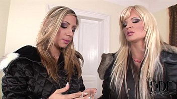 Two horny blonde foot-worshipping lesbian babes in action 5 min