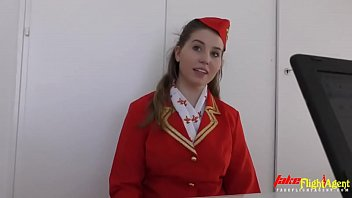 Beautiful Stewardess in Takes Big Monster Black Cock in her Tight Pink Pussy 18 min