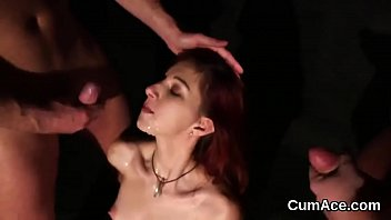 Foxy honey gets cumshot on her face eating all the jism