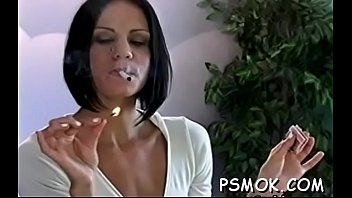 Obscene Slut Pleasing Her Man Whilst Smoking A Cigarette