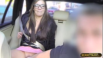 Taxicab porn Cute nerd lady adores pussy banging inside the taxicab