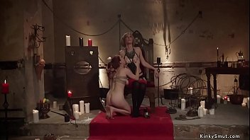 Lesbian dom torments and anal fucks babe