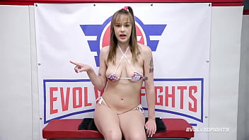 Rebecca Vanguard vs Oliver Davis in naked wrestling fight with loser fucked hard