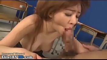 Japanese teacher in pantyhose educates her student