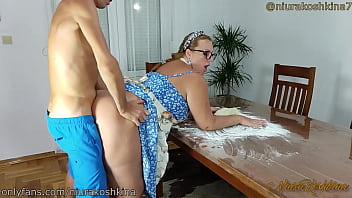 Pregnant Cooking Mom Gets A Fuck From Her Son Right In Her Kitchen  - MILF NiuraKoshkina