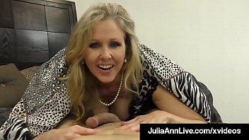 Cock Craving Cougar Julia Ann Gives Lucky Cock Handjob & BJ! 7 min