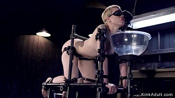 Fetish gas mask Blonde slave in gas mask gets whipped
