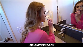 Young Blonde Teen Step Sister And Step Brother Morning Bathroom Quickie