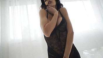 Sexy Babe teasing with black lingerie