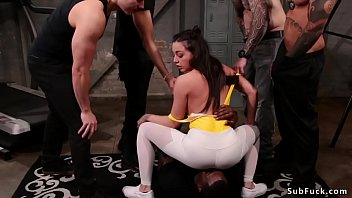 Double penetration bdsm orgy at the gym