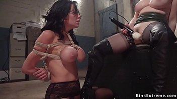 Busty lesdom anal fucks bound MILF