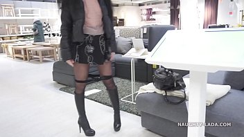 Short skirt and sheer blouse for flashing and public upskirt 2 min