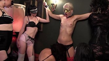 Curious blonde Dylan Ryan and other kinky babes in costume use toys to please each other on the floor