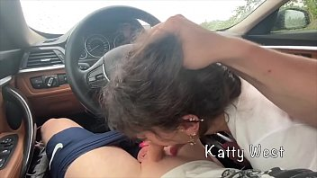 Whore sucks cock in a car and gets cum in her mouth 8 min