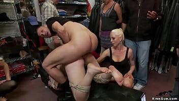 Bound slut anal in public boutique