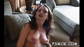Slutty whore smoking a cigarette and touching herself