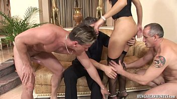 Euro babe gangbanged by big cock studs
