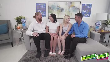 Babes Aria Banks and Riley Jean lets their daddies fuck their hot pussies