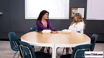 Hot teachers have lesbian sex at a schools office