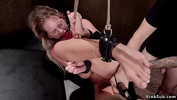 Blonde trainee is rough banged