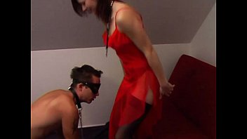 Fetish leashed porn Slave boy on a leash like a dog stepped on by mistresss feet