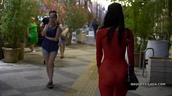 Red transparent dress in public porno izle