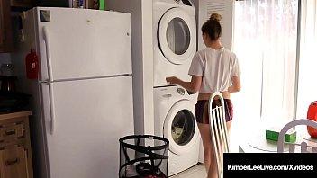 Girl Next Door Kimber Lee Gives Guy Handjob In Laundry Room!
