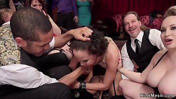 Tied slave rough banged at bdsm orgy