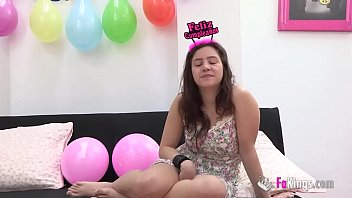 BIRTHDAY GIFT for Alba, her very first THREESOME with two guys!