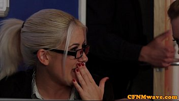 Dom CFNM babes sucking and tugging in office porn image