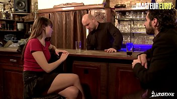 AMATEUR EURO - French Teen Takes DP From Bartender And A Random Horny Client - Luna Rival