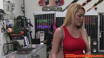 Busty pawnshop amateur sucks dick after sex