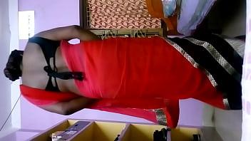 Ass saree Deepika bhabhi in red hot saree shaking ass in her home