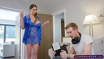 Busty MILF chick fucked by her angry gamer stepson