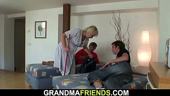 Two buddy share very old blonde grandmother