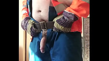 Worker getting ready to work in his gear (onlyfans.com/workie)