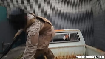 TOUR OF BOOTY - Arab Working Girl Pleases American Soldier In Derelict Building