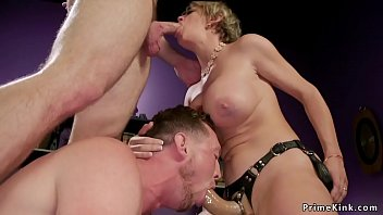 Fuck my hubby strap on Busty wife has threesome at home