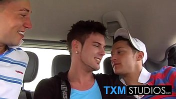 Three twinks have fantastic hot threesome sex in the car