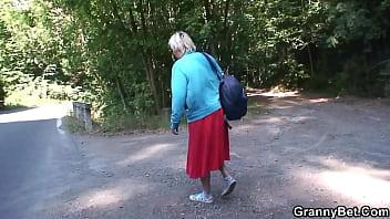 Blonde grandma getting doggy-fucked roadside 6 min