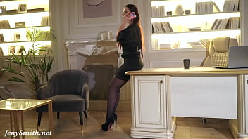 Your Chief: Jeny Smith plays the role of the boss. High heels, stockings and mini skirt. 17 min