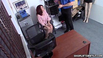 Bustylicious redhead MILF Andi James is a shoplifter. She stole sunglasses and caught by an officer and fucked her MILF cunt as a punishment.